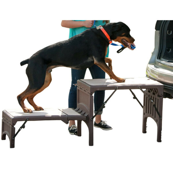 Free Standing Foldable Dog Stairs Cat Ramp Car SUV Home Carpeted Step Pet 350Lb $352.27