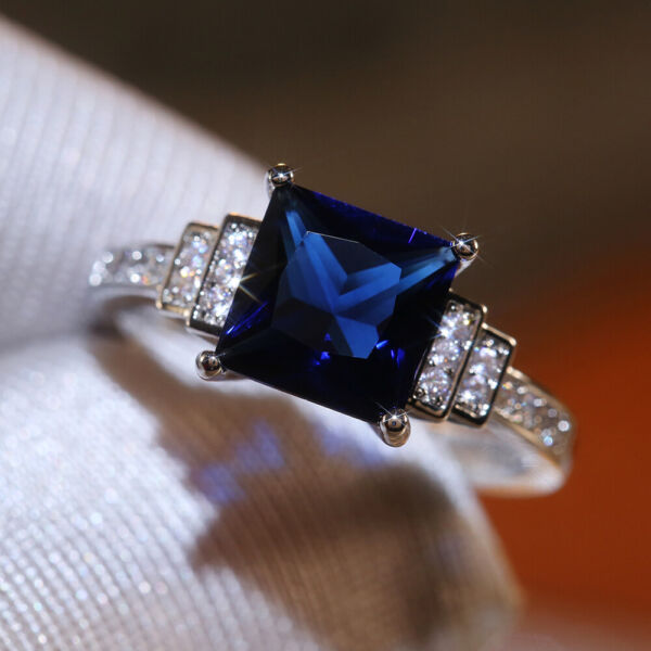 Gorgeous Jewelry 925 Silver Rings Blue Sapphire for Women Wedding Ring Size 6 10