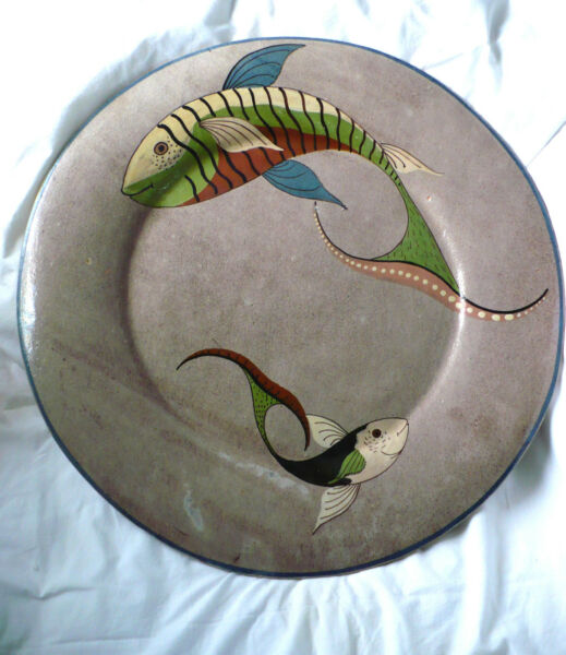 Vintage Mid Century Modern 18quot; MEXICO HP Wall Hang Charger Plate Two Fish 40#x27;s $400.00