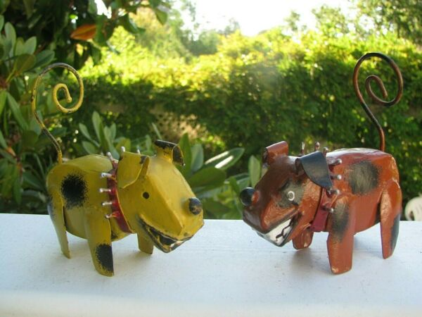 2 Recycled Metal Tin DOG SCULPTURES: Not Neutered Spiked Collars 3 1 8quot; $24.00