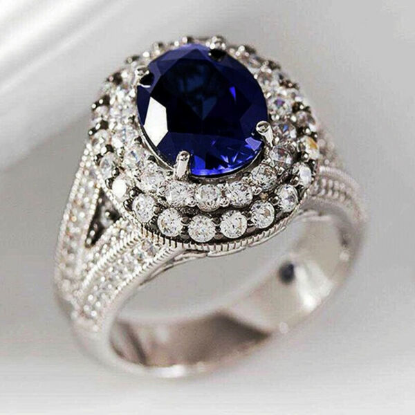 Gorgeous Blue Sapphire Jewelry 925 Silver Rings Women Engagement Rings Size 6 10