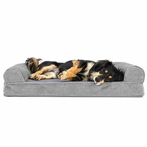 Furhaven Pet Dog Bed Orthopedic Faux Fur and Velvet Traditional Sofa Style ... $21.34