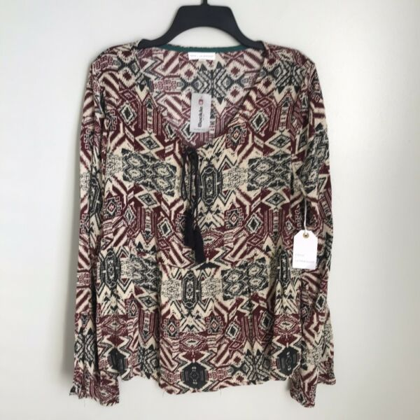 New Coco Jaimeson Buckle Large Multi Color Tie Front Long Sleeve Blouse $19.99