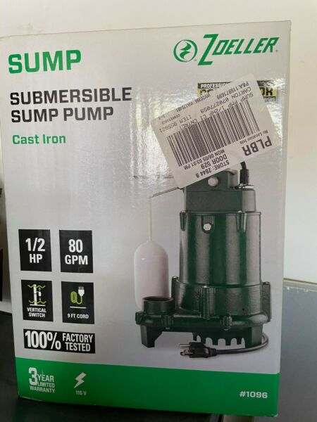 Zoeller 1 2 HP Cast Iron Submersible Sump Pump 115v 80 GPM Water Lift M1096 $205.00