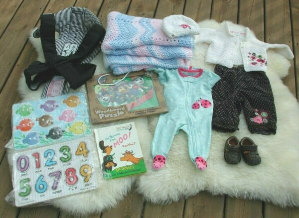 THE CHILDRENS PLACE BABY BJORN Carrier 3 6 mo Newborn Clothing Blanket Puzzles $7.95