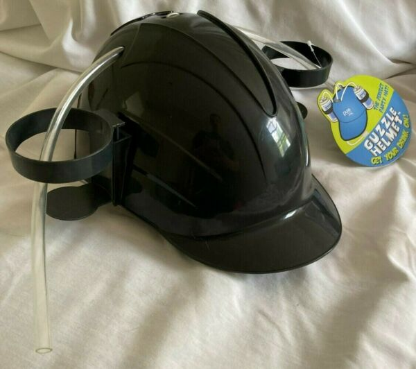 Black BEER or SODA PARTY HAT * GUZZLE BEVERAGE TAILGATING DRINKING HELMET * NEW