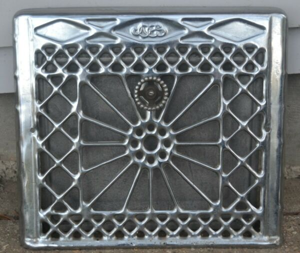 Vintage Chrome Metal Wall Register Vent Grate Cover Heat Wall Air Cover $149.99