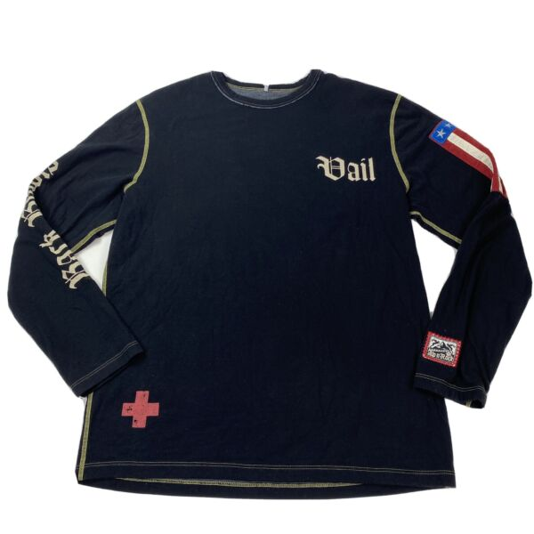 Vail Decorative Alp n Rock Black Long Sleeve Pullover Size 4 Large made USA