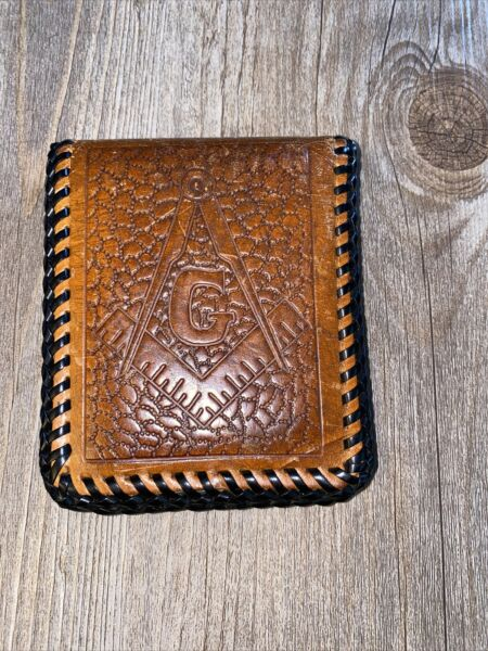 Vintage Tooled Leather Mason#x27;s Wallet Masonic Square and Compasses Design 1940's $17.95