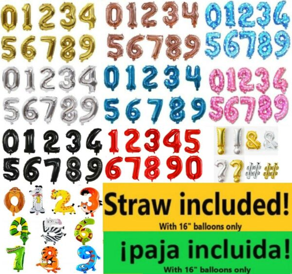 """16"""" 40quot; Number Foil Balloon Mylar Celebration Party Birthday Wedding Baby Shower"""