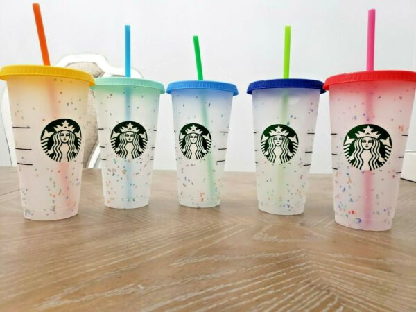 New Starbucks Confetti Color Changing Cold 24oz Cup Tumbler