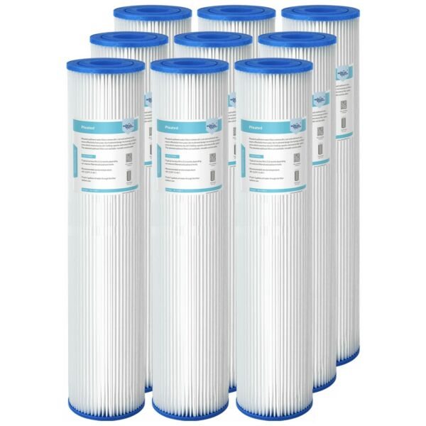 9PCS 20quot;x4.5quot; Washable Pleated Sediment Water Filter 5 20 50 Micron for Big Blue $31.99