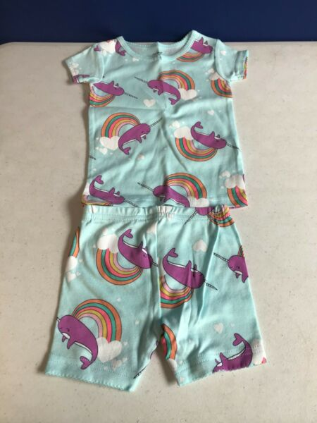 Carter#x27;s Terno Shirt amp; Short Outfit Baby Girls 12 Months Narwhal Rainbow Print