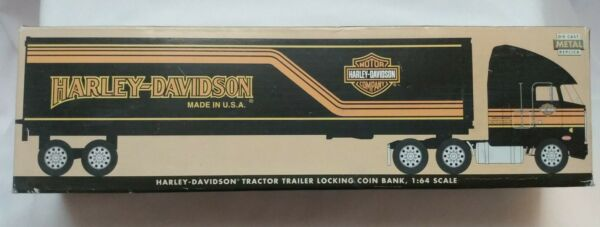 Harley Davidson Tractor Trailer Locking Coin Bank 1:64 Scale New in Box $39.99