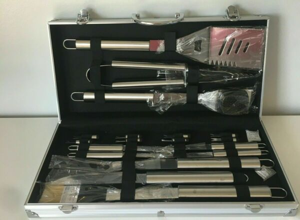 18 Piece Stainless Steel BBQ Grill Set With Aluminum Storage Case