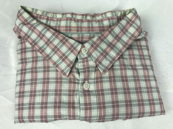 FOUNDRY SUPPLY CO Casual Plaid Short Sleeve Button Down Shirt 5XL 100% Cotton
