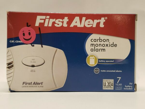 First Alert Carbon Monoxide Alarm Battery Operated NEW $19.99