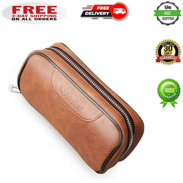 Leather Tobacco Smoking Wood Pipe Pouch case Bag for 2 Tobacco Pipe and Other Ac $29.99