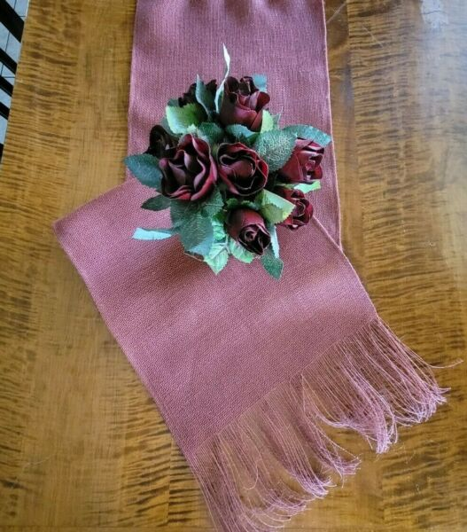 Rust Brown Burlap Table Runner with Fringed Ends Rustic Farmhouse Style