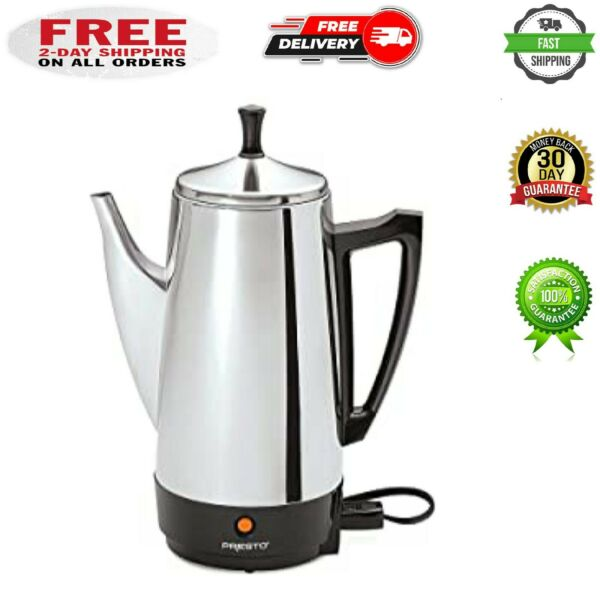 Electric Coffee Percolator Vintage Maker Pot Stainless Steel 12 Cup Portable New