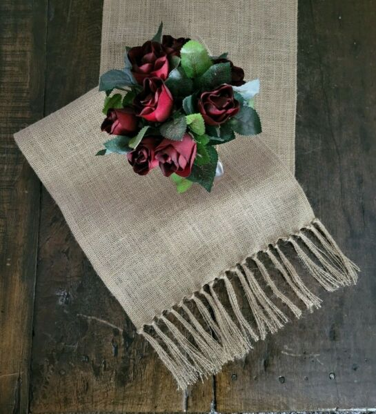 Natural Burlap Table Runner with Tied Fringed Ends Rustic Farmhouse Style