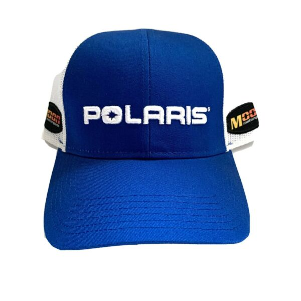 POLARIS Trucker Hat Blue and White Moon Motor Sports Embroidered Baseball Cap $9.99