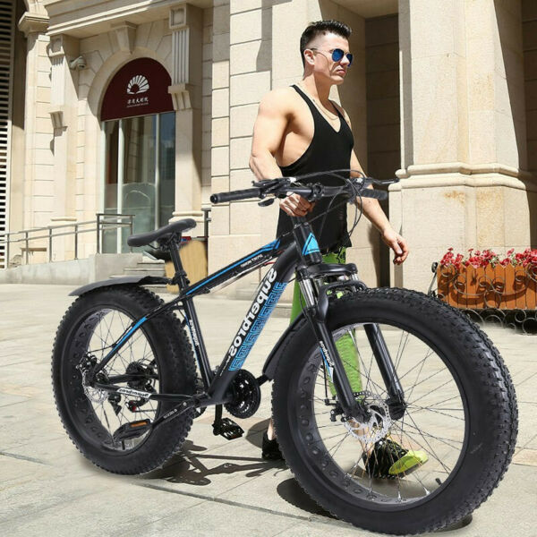 26 inch 4quot;W Fat Tire Mountain Bike 21 Speed Bicycle High Tensile Steel Frame $296.97