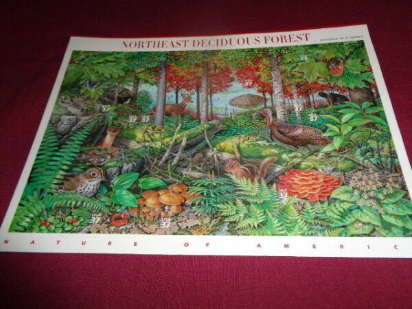 U.S. Postage Stamp Sheet Northeast Deciduous Forest Lot Of 10 7Th In A Series