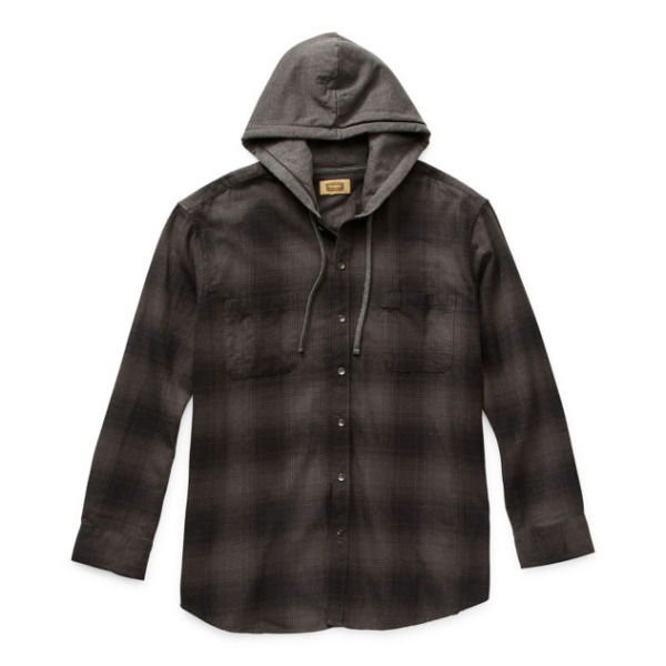 Foundry Men#x27;s Big amp; Tall Charcoal Flannel Hooded Neck Button Up Shirt 4XLT NWT