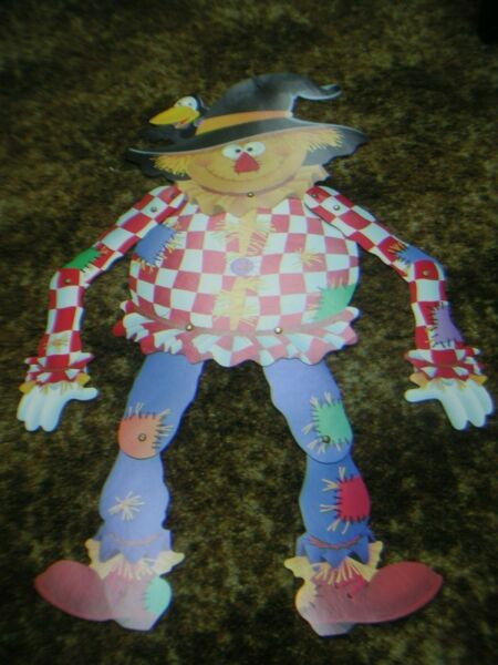 1960s Cardboard Jointed Scare Crow 24 X 32quot; Unique Halloween $24.44