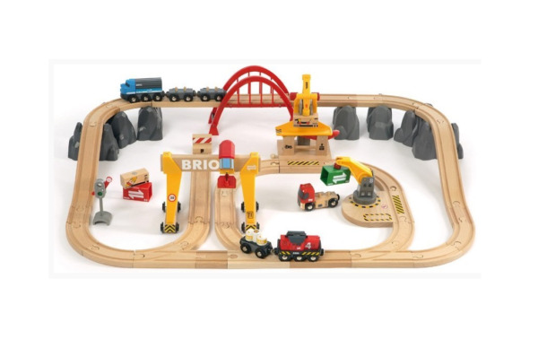 BRIO 33097 Cargo Railway Deluxe Set 54 Piece Train Toy with Accessories and
