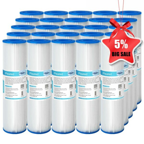25 Pack 10quot;x2.5quot; Whole House System Pleated Sediment Water Filter 5 20 50 Micron $37.79