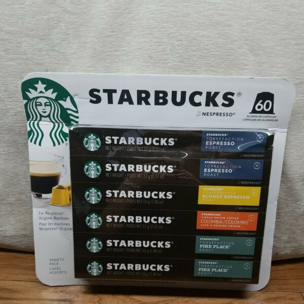 Starbucks by Nespresso Variety Pack 60 Count Single Serve Capsules