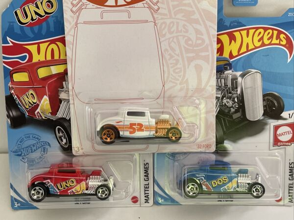 HOT WHEELS 32 FORD UNO FORD DOS FORD MATTEL GAMES LOT OF 3 BLUE AND RED PEARL