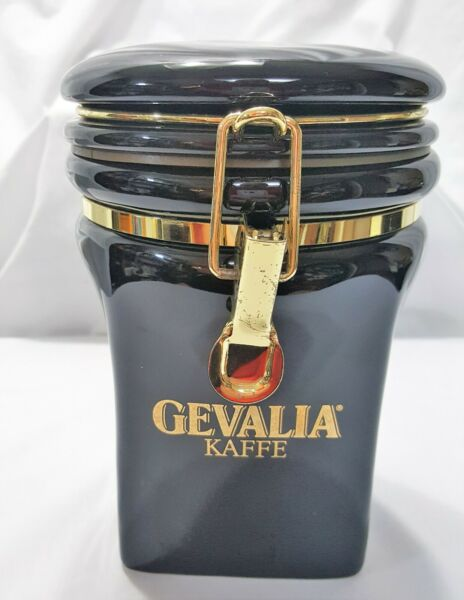 GEVALIA KAFFE BLACK Canister container quot;8 Airtight Kitchen Coffee storage