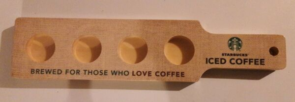 Starbucks Iced Coffee Wooden Drink Shots Serving Flight Paddle