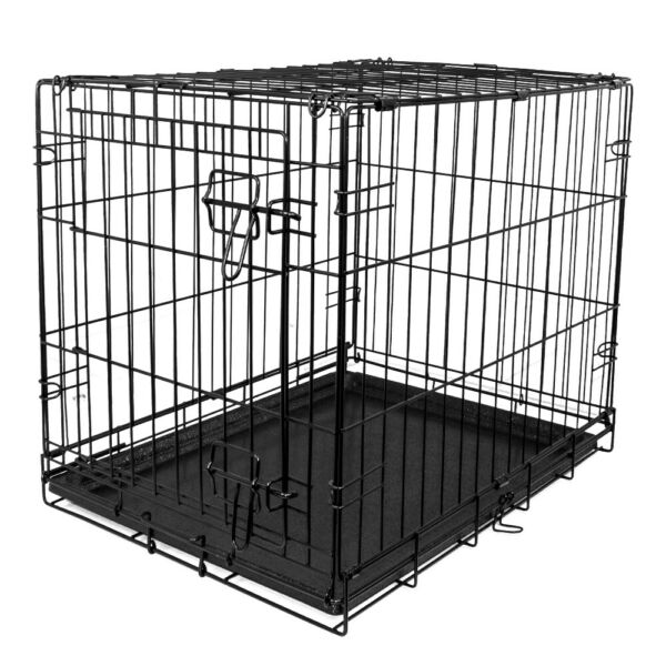 Single Door Folding Dog Crate with Divider X Small 24quot;L $23.99