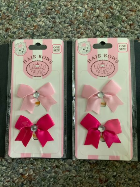 Pink light and dark 4 Lulu Pink HAIRBOWS Dog bands pet grooming accessories $3.00