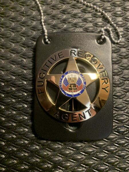 Fugitive Recovery Agent Gold Badge w Leather Neck Chain Dog The Bounty Hunter $22.99