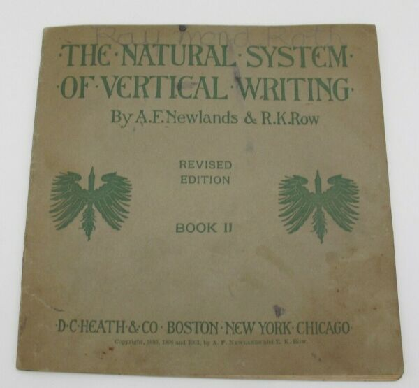 1901 The Natural System of Vertical Writing Newlands Row Book II School Cursive $14.99