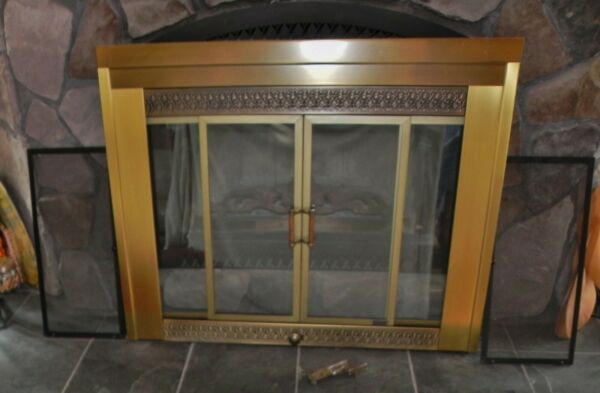 Vintage Brass Fireplace Screen with Glass amp; Mesh Sliding Doors