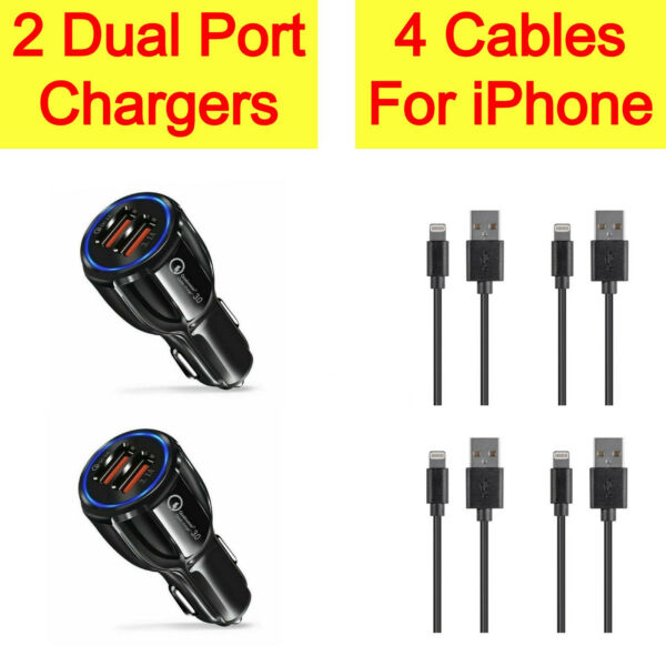 2x Dual Port Car Charger4x Charging USB Cable Cord For iPhone 12 Pro Max 11 X 8 $4.95