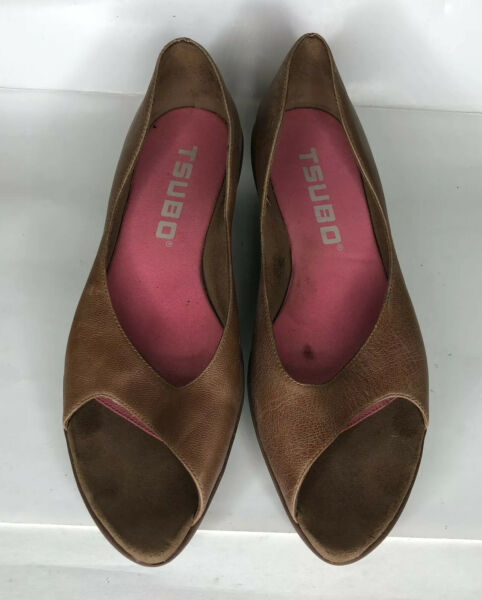 Tsubo Brown Leather Open Toe Wedges Shoes Women's Size 9 US