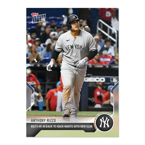 2021 TOPPS NOW #588 ANTHONY RIZZO NEW YORK YANKEES BACK TO BACK HOME RUNS