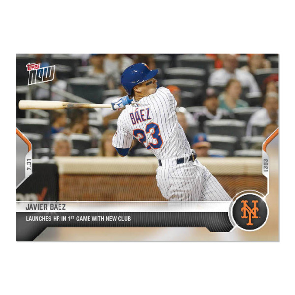 2021 TOPPS NOW #591 JAVIER BAEZ NEW YORK METS 1ST HOME RUN WITH NEW CLUB