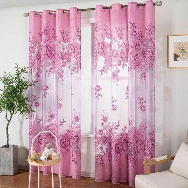 Embroidered Jacquard Tulle Curtains Floral Pattern Windows Treatment Curtain New