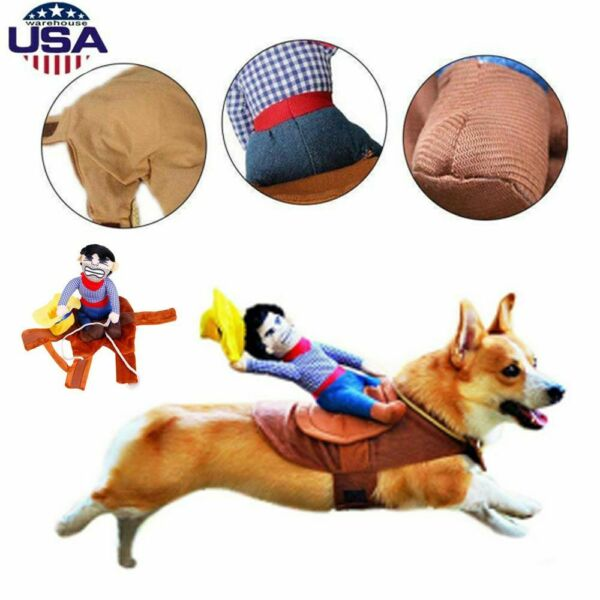 Halloween Clothes Funny Riding Horse Cowboy Pet Dog Costumes Puppy Party Costume $11.80