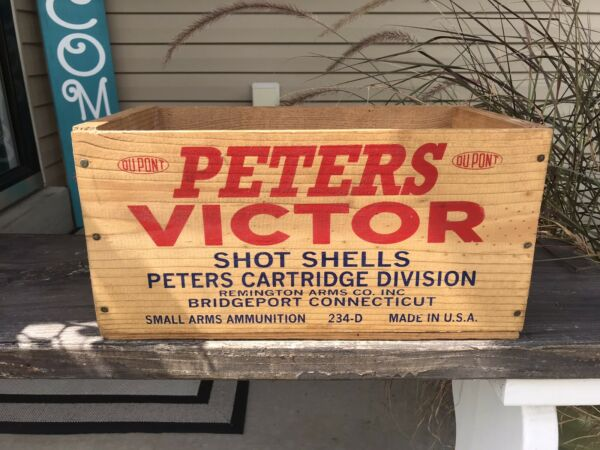 PETERS VICTOR Ammo Box Wood Crate 12 Gauge Shot Shells EXCELLENT