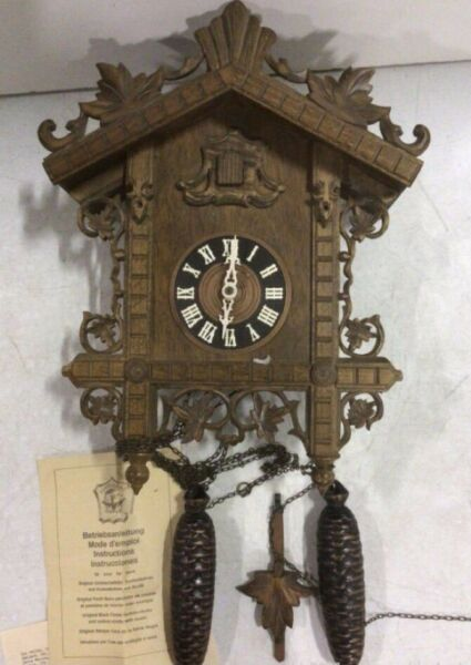 Antique Black Forest Made in Germany Cuckoo Clock 13x16.5quot; Includes Pendulum In