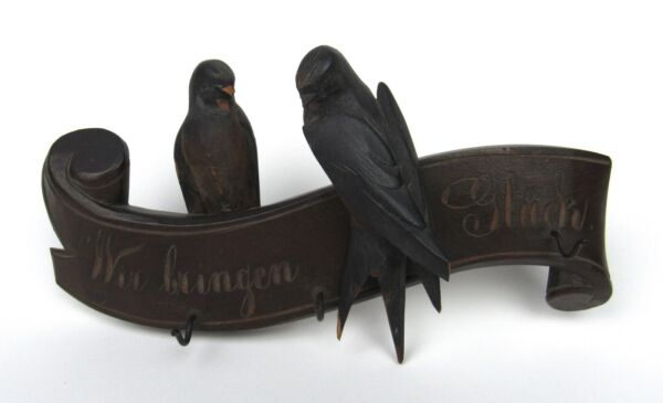 Antique German Carved Black Forest Wood Swallow Birds Hook Wall Hang Bring Luck